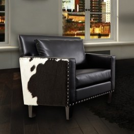 Dallas Chair In Black Leather and Real Cowhide Side Panels