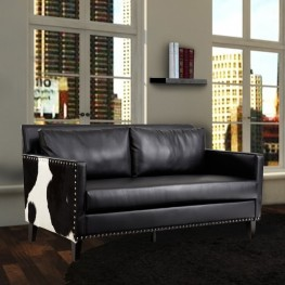 Dallas Loveseat In Black Leather and Real Cowhide Side Panels