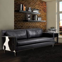 Dallas Sofa In Black Leather and Real Cowhide Side Panels