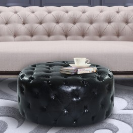 Victoria Ottoman In Midnight Black Bonded Leather
