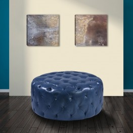 Victoria Ottoman In Ocean Blue Bonded Leather