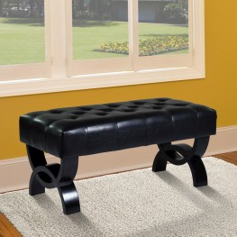 "Central Park 36"" Tufted Black Bonded Leather Ottoman"