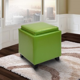 Rainbow Contemporary Storage Ottoman With Tray in Green Bonded Leather
