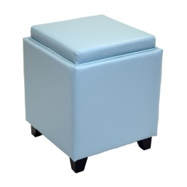 Rainbow Contemporary Storage Ottoman With Tray in Sky Blue Bonded Leather