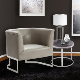 Elite Contemporary Accent Chair In Smoke Bonded and Steel