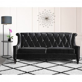 Barrister Sofa In Black Velvet With Crystal Buttons