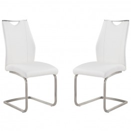 Bravo Contemporary Side Chair In White and Stainless Steel - Set of 2