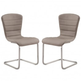 Cameo Modern Side Chair In Stainless Steel With Coffee  - Set of 2