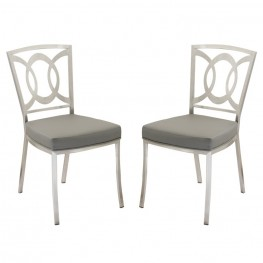 Drake Modern Dining Chair In Gray  and Stainless Steel - Set of 2