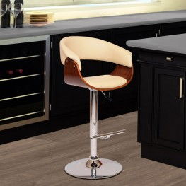 Paris Swivel Barstool In Cream PU/ Walnut Veneer and Chrome Base