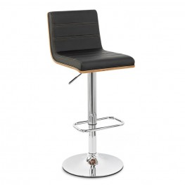 Armen Living Aubrey Barstool Chrome Base finish with Black Pu upholstery and Walnut back