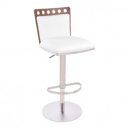 Armen Living Brooke Barstool in Brushed Steel finish with White upholstery and Walnut back