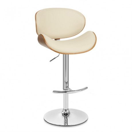 Naples Barstool in Chrome finish with Cream Pu upholstery and Walnut veneer back