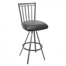 "Aidan 30"" Transitional Barstool In Gray and Gray Metal"