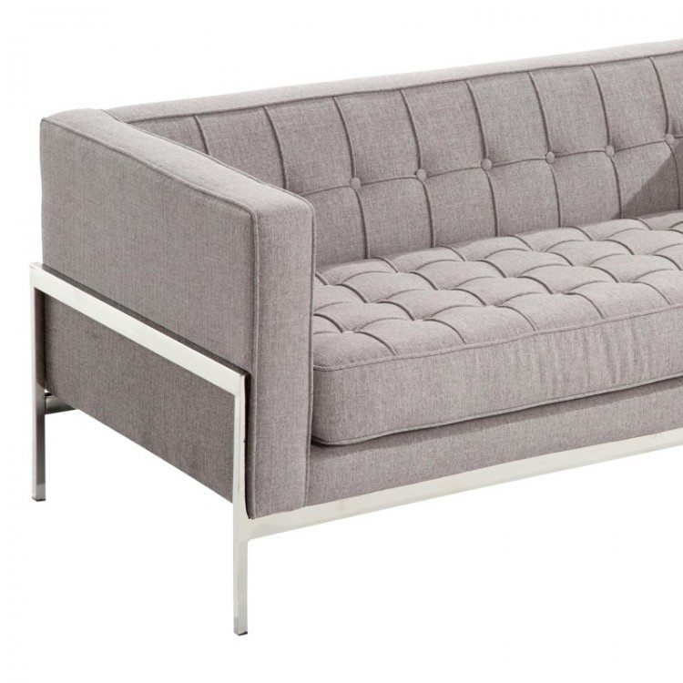 andre contemporary loveseat in gray tweed and stainless steel grey galore modern ikea kitchen with a farmers sink