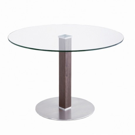 Café Brushed Stainless Steel Dining Table with Clear Glass
