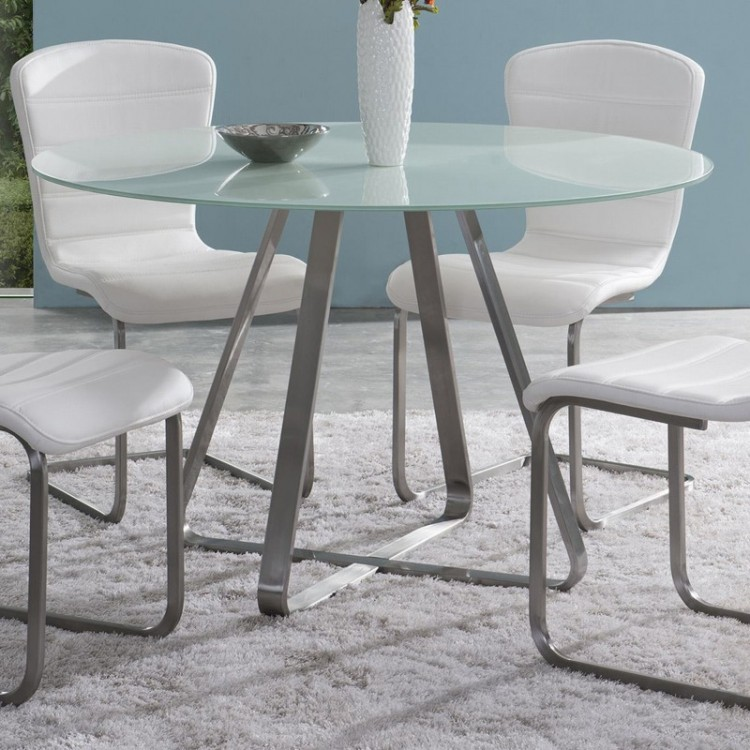 cameo modern dining table in stainless steel with painted gl
