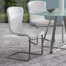 Cameo Modern Side Chair In Stainless Steel With White - Set of 2