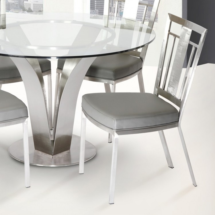 cleo contemporary dining chair in gray and stainless steel gray ikea cabinets kitchen contemporary with stainless