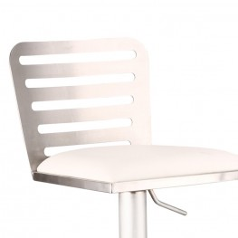 Delmar Adjustable Brushed Stainless Steel Barstool in White Pu