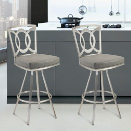 "Drake 30"" Contemporary Swivel Barstool In Gray and Stainless Steel"