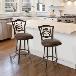 "Essex 30"" Transitional Barstool In Coffee and Auburn Bay Metal"