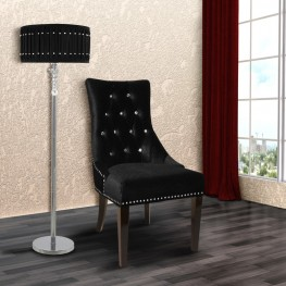 Carlyle Side Chair in Black Velvet