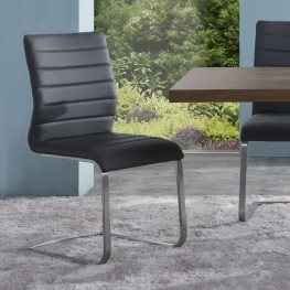 Fusion Contemporary Side Chair In Gray and Stainless Steel - Set of 2