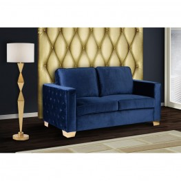 Isola Loveseat In Blue Velvet With Gold Metal Legs