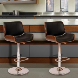 London Swivel Barstool In Black PU/ Walnut Veneer and Chrome Base