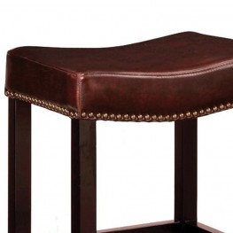 "Tudor Backless 30"" Stationary Barstool In Antique Brown leather With Nailhead Accents Mbs-013"