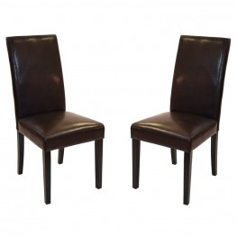 Brown Bonded Leather Side Chair - MD-014 (Set Of 2)