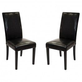 Black Bonded Leather Side Chair Md-014 (Set Of 2)