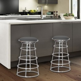 "Ringo 30"" Backless Brushed Stainless Steel Barstool in Gray Pu"