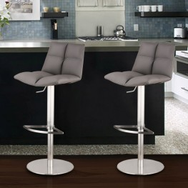Roma Adjustable Brushed Stainless Steel Barstool in Gray Pu