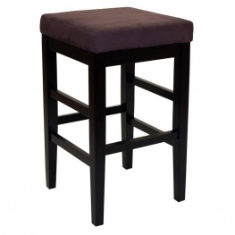 "Sonata 26"" Stationary Barstool in Brown Microfiber with Black Legs"