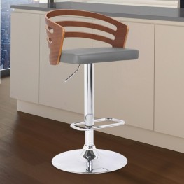 Adele Mid-Century Adjustable Swivel Barstool in Chrome with Grey Faux Leather and Walnut Veneer