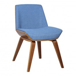 Agi Mid Century Side Chair In Blue Fabric With Walnut Wood Finish