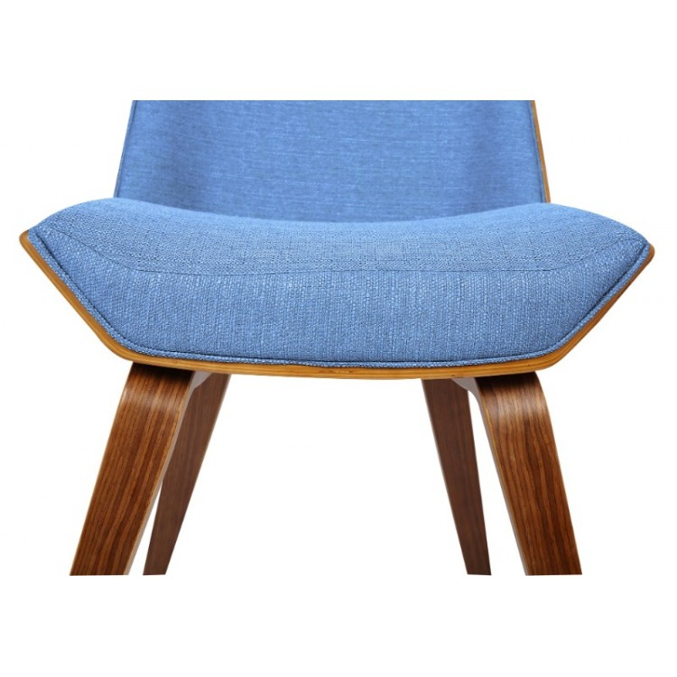 5a27730cc57bd Armen Living Agi Mid-Century Side Chair in Blue Fabric with Walnut ...