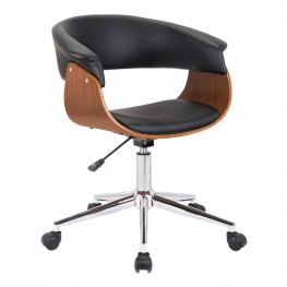 Bellevue Mid-Century Office Chair in Chrome Finish with Black Faux Leather and Walnut Veneer