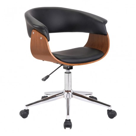 Armen Living Bellevue Mid-Century Office Chair in Chrome Finish with Black Faux Leather and Walnut Veneer
