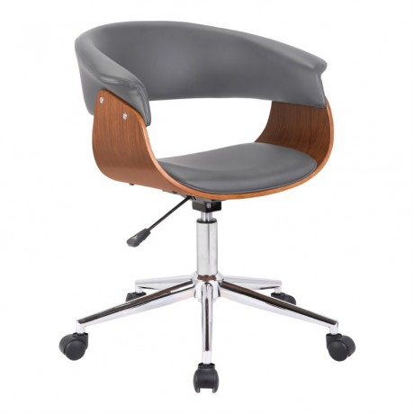 Bellevue Mid-Century Office Chair in Chrome Finish with Grey Faux Leather and Walnut Veneer
