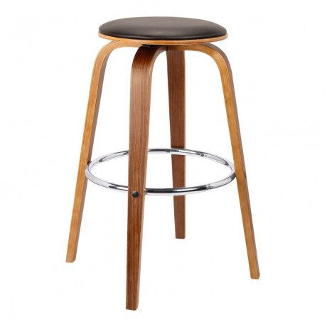 "Harbor 30"" Mid-Century Swivel Bar Height Backless Barstool in Brown Faux Leather with Walnut Veneer"