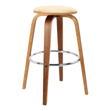 "Harbor 30"" Mid-Century Swivel Bar Height Backless Barstool in Cream Faux Leather with Walnut Veneer"