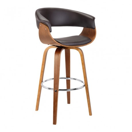 "Julyssa 30"" Mid-Century Swivel Bar Height Barstool in Brown Faux Leather with Walnut Wood"