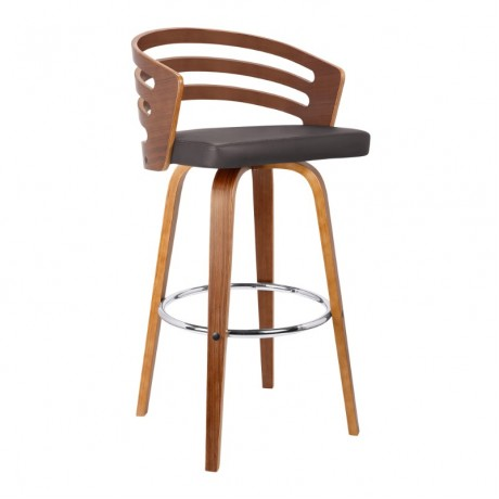 "Armen living Jayden 30"" Mid-Century Swivel Bar Height Barstool in Brown Faux Leather with Walnut Veneer"