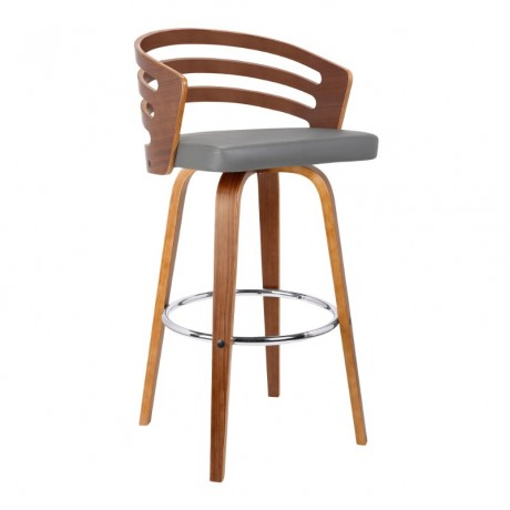 "Jayden 26"" Mid-Century Swivel Counter Height Barstool in Brown Faux Leather with Walnut Veneer"