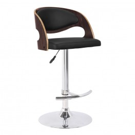 Malibu Swivel Barstool in Black Faux Leather with Dark Oak Wood Finish