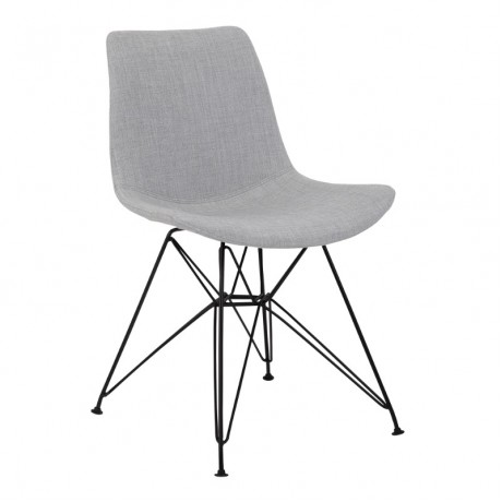 Palmetto Contemporary Dining Chair in Grey Fabric with Black Metal Legs