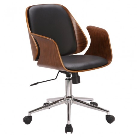 Armen Living Santiago Mid-Century Office Chair in Black Faux Leather with Walnut Wood Finish